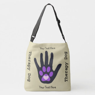 Black Hand Paw and Heart Therapy Dog Crossbody Bag