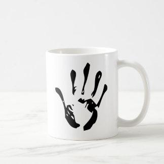 Black hand print coffee mug