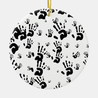 Black Hand Prints Ceramic Ornament