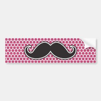 Black handlebar mustache fuchsia polka dot pattern bumper sticker