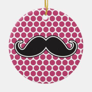Black handlebar mustache fuchsia polka dot pattern ceramic ornament
