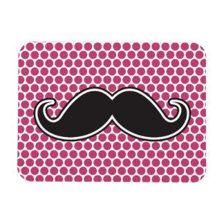 Black handlebar mustache fuchsia polka dot pattern magnet
