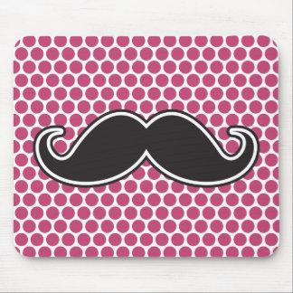 Black handlebar mustache fuchsia polka dot pattern mouse pad