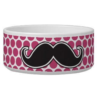 Black handlebar mustache fuchsia polka dot pattern dog water bowls