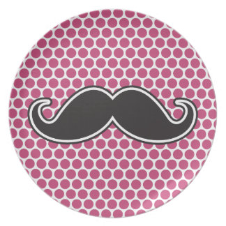 Black handlebar mustache fuchsia polka dot pattern plate