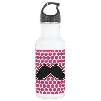 Black handlebar mustache fuchsia polka dot pattern stainless steel water bottle