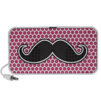 Black handlebar mustache fuchsia polka dot pattern travel speaker