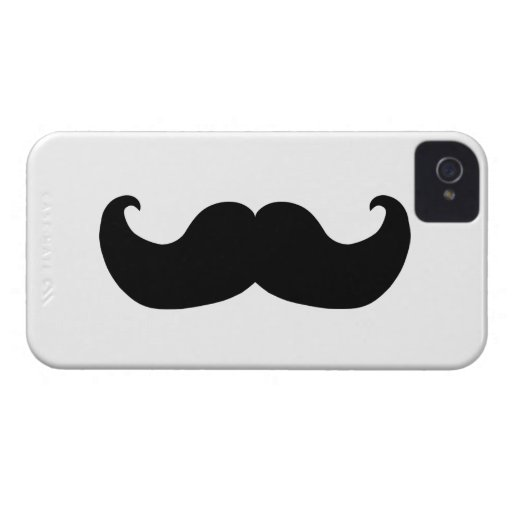 Black Handlebar Mustache iPhone 4 Case