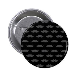 Black Handlebar Mustache Moustache Pattern Pinback Button