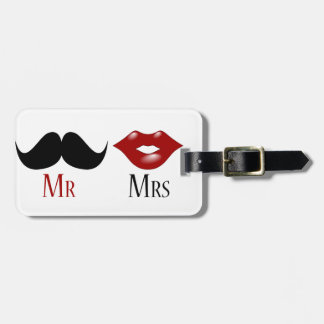 Black Handlebar Mustache Mr and Mrs Luggage Tag