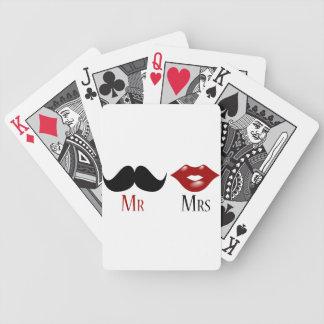 Black Handlebar Mustache Mr and Mrs Poker Cards