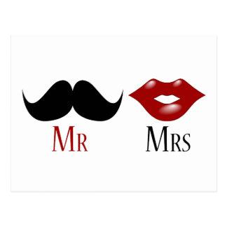 Black Handlebar Mustache Mr and Mrs Postcard