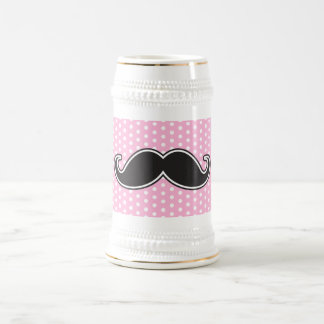 Black handlebar mustache on girly pink polka dots beer stein