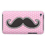 Black handlebar mustache on girly pink polka dots barely there iPod covers