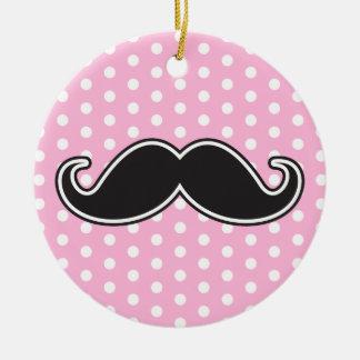 Black handlebar mustache on girly pink polka dots ceramic ornament