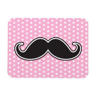 Black handlebar mustache on girly pink polka dots magnet