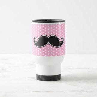 Black handlebar mustache on girly pink polka dots 15 oz stainless steel travel mug