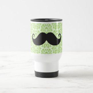 Black handlebar mustache on green damask pattern 15 oz stainless steel travel mug