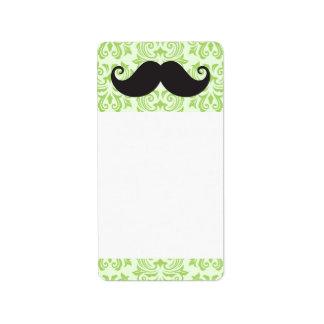 Black handlebar mustache on green damask pattern address label