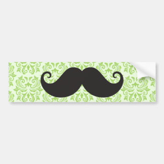 Black handlebar mustache on green damask pattern bumper sticker