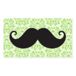 Black handlebar mustache on green damask pattern Double-Sided standard business cards (Pack of 100)