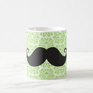 Black handlebar mustache on green damask pattern classic white coffee mug
