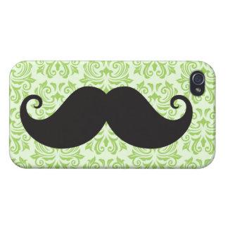 Black handlebar mustache on green damask pattern iPhone 4 cover