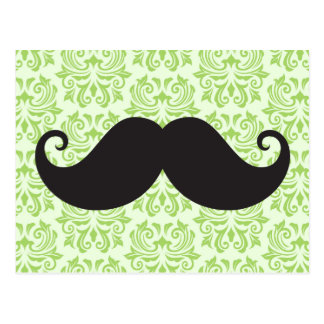 Black handlebar mustache on green damask pattern postcard