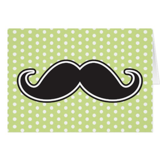 Black handlebar mustache on lime green polka dots greeting card