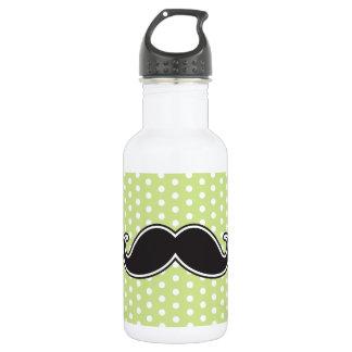 Black handlebar mustache on lime green polka dots 18oz water bottle