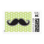 Black handlebar mustache on lime green polka dots stamps