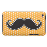 Black handlebar mustache on orange polka dots barely there iPod covers