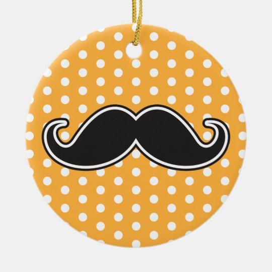 Black handlebar mustache on orange polka dots ceramic ornament