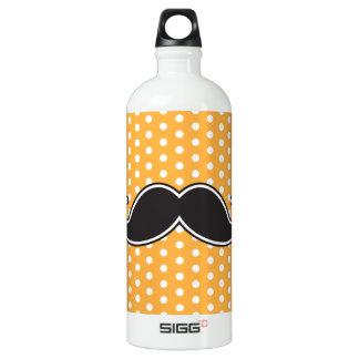 Black handlebar mustache on orange polka dots water bottle