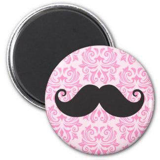 Black handlebar mustache on pink damask pattern 2 inch round magnet