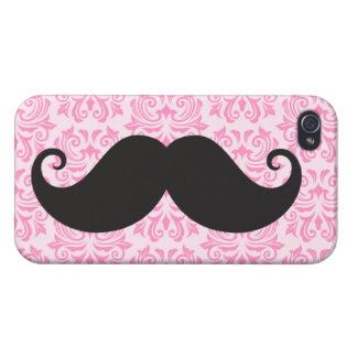 Black handlebar mustache on pink damask pattern iPhone 4 case