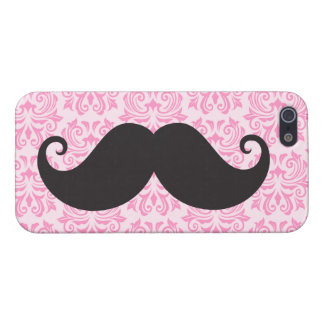 Black handlebar mustache on pink damask pattern iPhone SE/5/5s case