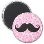 Black handlebar mustache on pink damask pattern refrigerator magnets