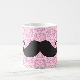 Black handlebar mustache on pink damask pattern coffee mug