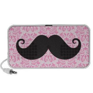 Black handlebar mustache on pink damask pattern laptop speaker