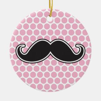 Black handlebar mustache on pink polka dot pattern ceramic ornament