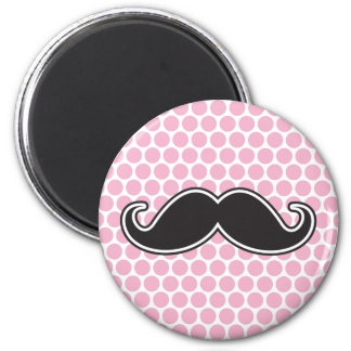 Black handlebar mustache on pink polka dot pattern magnet