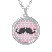 Black handlebar mustache on pink polka dot pattern silver plated necklace
