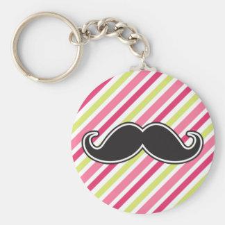 Black handlebar mustache pink lime green stripes basic round button keychain