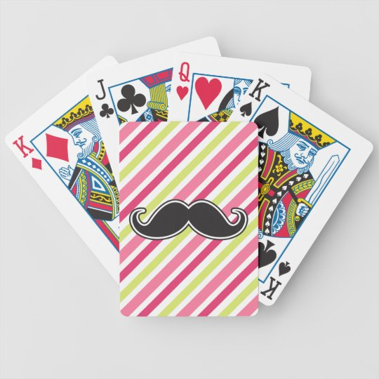 Black handlebar mustache pink lime green stripes bicycle playing cards