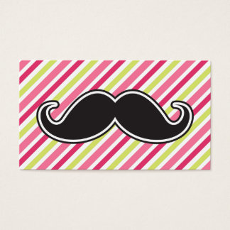 Black handlebar mustache pink lime green stripes business card
