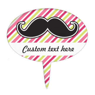 Black handlebar mustache pink lime green stripes cake topper