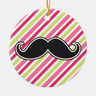 Black handlebar mustache pink lime green stripes ceramic ornament