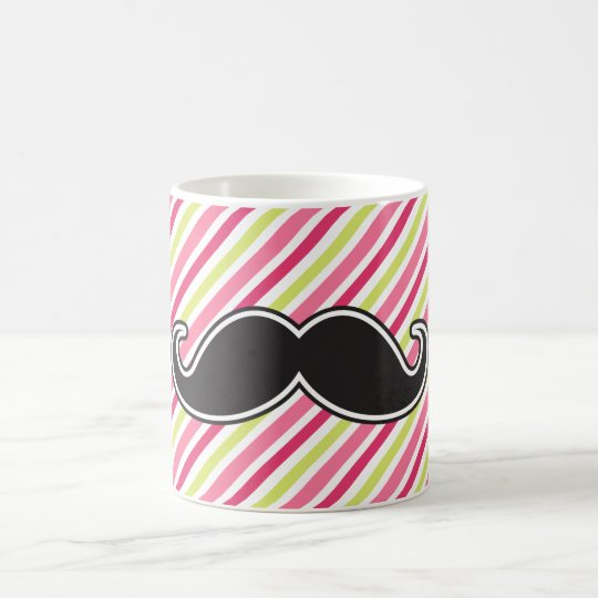 Black handlebar mustache pink lime green stripes coffee mug