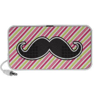 Black handlebar mustache pink lime green stripes iPhone speaker